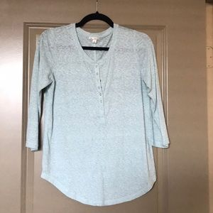 Turquoise knit Henley